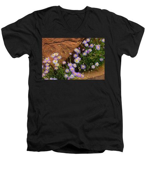 Flowers In The Rocks Men's V-Neck T-Shirt by Darren White