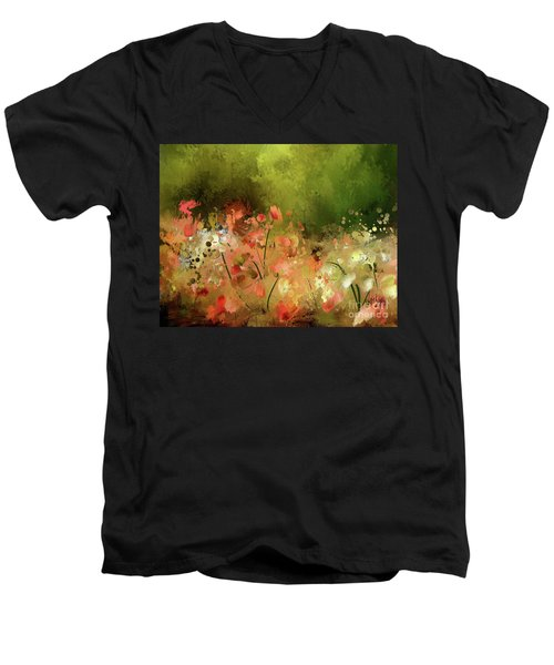 Men's V-Neck T-Shirt featuring the photograph Flowers Of Corfu by Lois Bryan