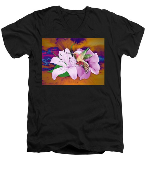 Men's V-Neck T-Shirt featuring the mixed media Fluttering by Marvin Blaine