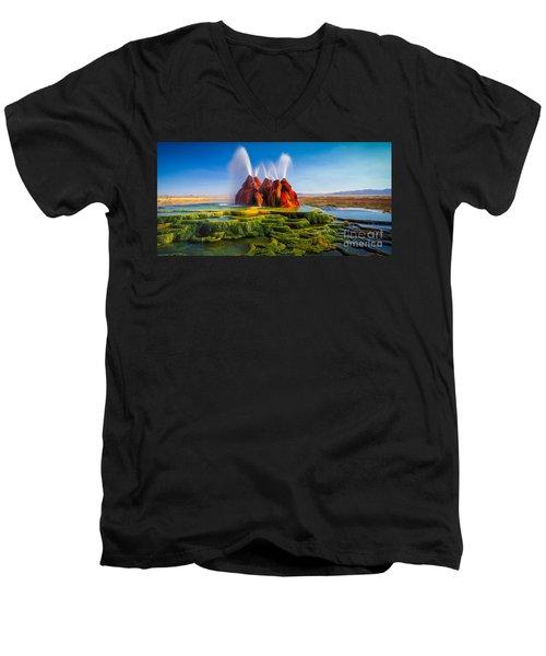 Fly Geyser Panorama Men's V-Neck T-Shirt