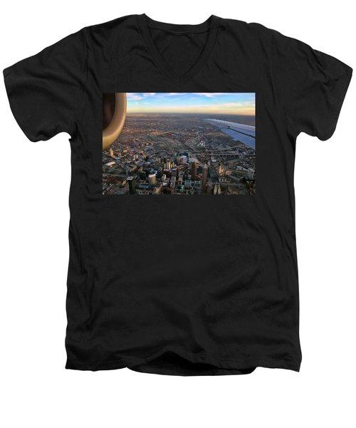 Flying Over Cincinnati Men's V-Neck T-Shirt by Joann Vitali