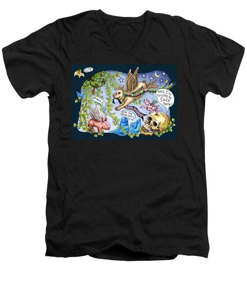 Flying Pig Party Men's V-Neck T-Shirt