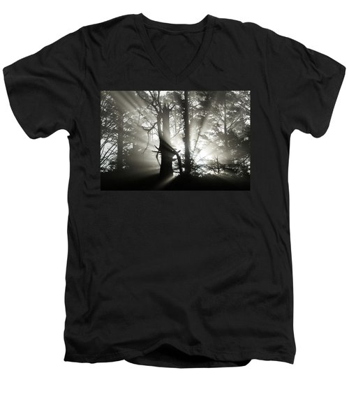 Men's V-Neck T-Shirt featuring the photograph Foggy Flares by Wesley Aston