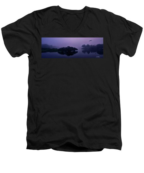 Men's V-Neck T-Shirt featuring the photograph Foggy Morning by Don Durfee
