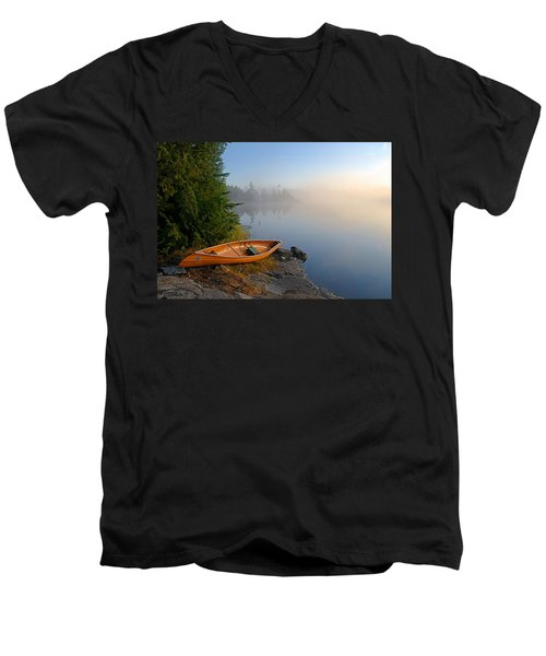 Foggy Morning On Spice Lake Men's V-Neck T-Shirt by Larry Ricker