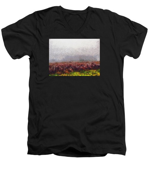 Men's V-Neck T-Shirt featuring the photograph Foggy Morning by Spyder Webb