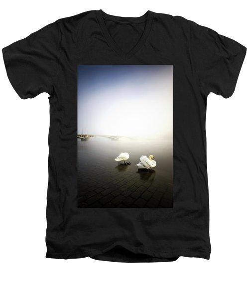 Foggy Morning View Near Bridge With Two Swans At Vltava River, Prague, Czech Republic Men's V-Neck T-Shirt