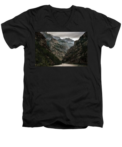 Foggy Mountains Over Neretva Gorge Men's V-Neck T-Shirt by Jaroslaw Blaminsky