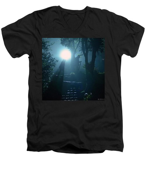 Foggy Night At The Old Railway Village Men's V-Neck T-Shirt