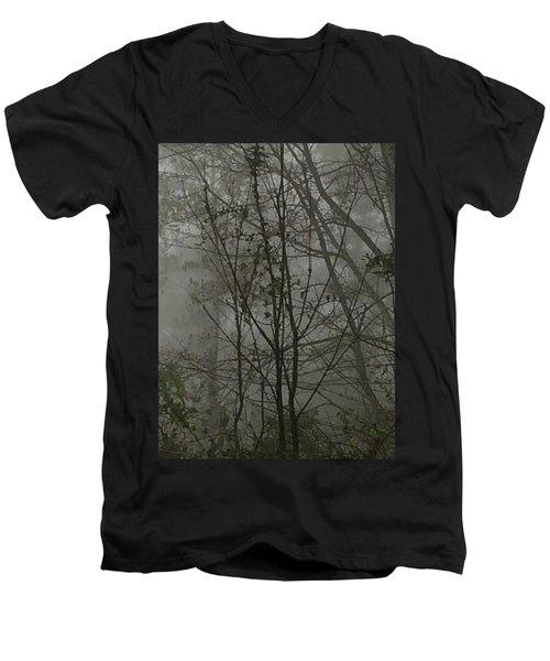 Foggy Woods Photo  Men's V-Neck T-Shirt by Gina O'Brien