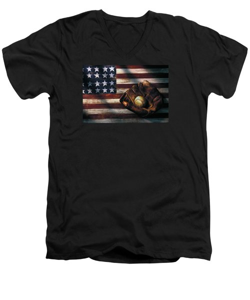 Folk Art American Flag And Baseball Mitt Men's V-Neck T-Shirt