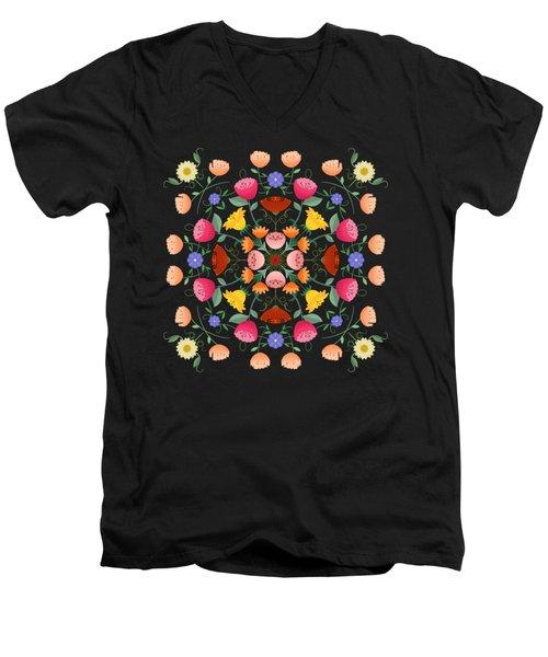 Folk Art Inspired Garden Of Fantastic Floral Delight Men's V-Neck T-Shirt