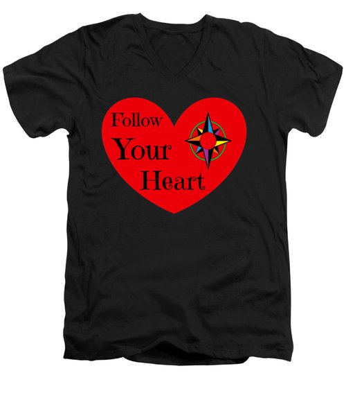 Men's V-Neck T-Shirt featuring the photograph Follow Your Heart 2016 by Padre Art