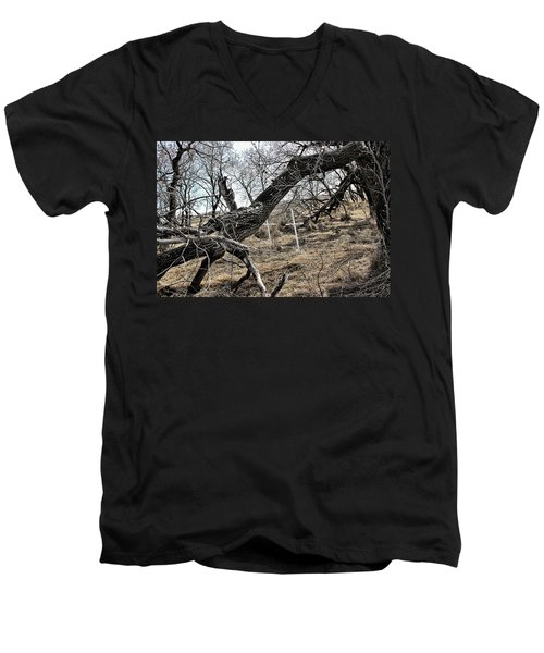 Men's V-Neck T-Shirt featuring the photograph Fone Hill Cemetery  by Ryan Crouse