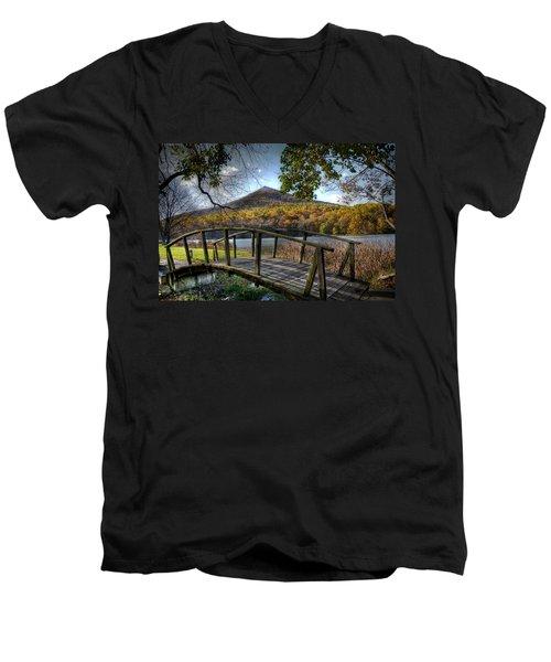 Foot Bridge Men's V-Neck T-Shirt by Todd Hostetter