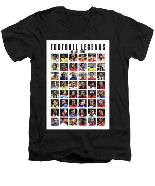 Football Legends Men's V-Neck T-Shirt by Semih Yurdabak