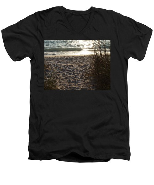 Men's V-Neck T-Shirt featuring the photograph Footprints In The Dunes by Robert Margetts
