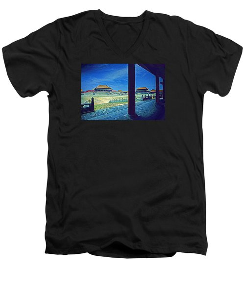 Men's V-Neck T-Shirt featuring the photograph Forbidden City Porch by Dennis Cox ChinaStock