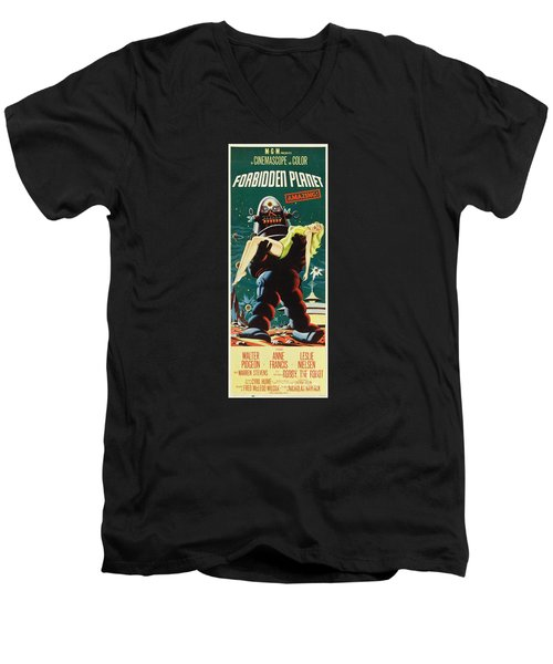 Forbidden Planet In Cinemascope Retro Classic Movie Poster Portraite Men's V-Neck T-Shirt by R Muirhead Art