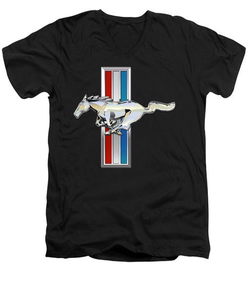 Ford Mustang - Tri Bar And Pony 3 D Badge On Black Men's V-Neck T-Shirt by Serge Averbukh