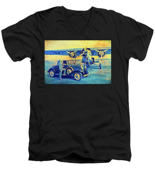 Ford Trimotor And 1931 Model A Roadster Men's V-Neck T-Shirt