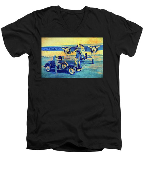 Ford Trimotor And 1931 Model A Roadster Men's V-Neck T-Shirt