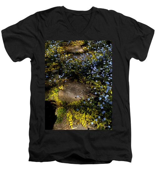 Men's V-Neck T-Shirt featuring the painting Forget-me-nots 1 by Renate Nadi Wesley