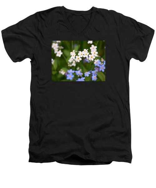 Forget Me Nots Men's V-Neck T-Shirt by Jouko Lehto