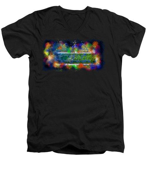 Forgive Brick Tshirt Men's V-Neck T-Shirt by Tamara Kulish