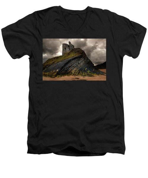 Forgotten Castle In Ballybunion Men's V-Neck T-Shirt