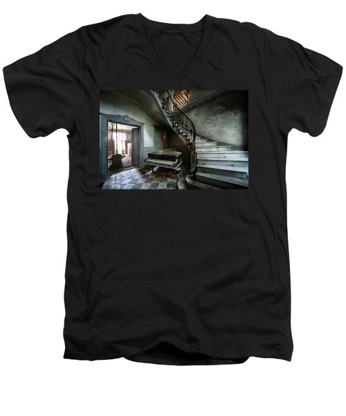 The Sound Of Decay - Abandoned Piano Men's V-Neck T-Shirt