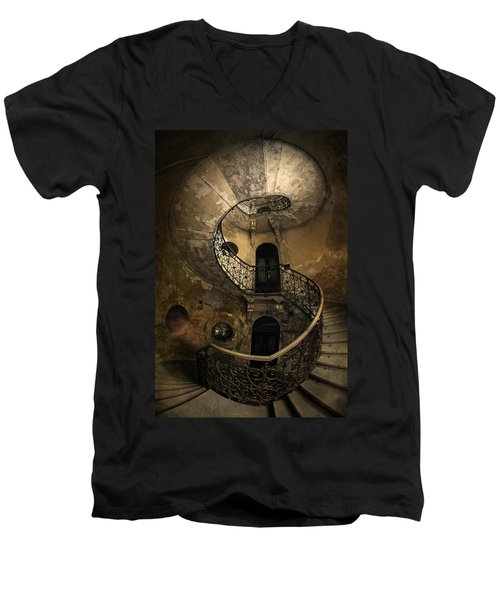 Forgotten Staircase Men's V-Neck T-Shirt by Jaroslaw Blaminsky