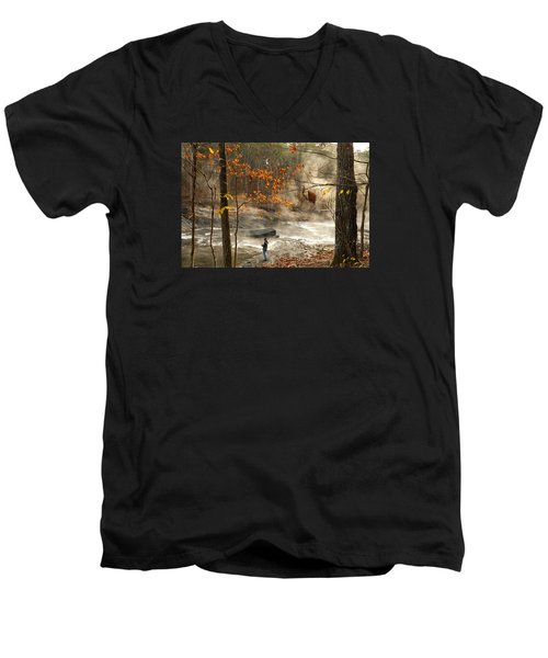 Fork River In Fall Men's V-Neck T-Shirt