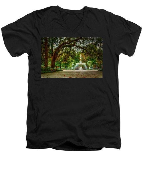 Forsyth Park Fountain Men's V-Neck T-Shirt