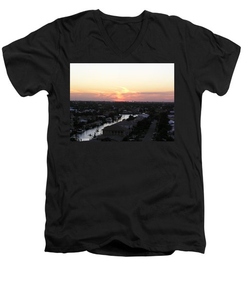 Fort Lauderdale Sunset Men's V-Neck T-Shirt by Patricia Piffath