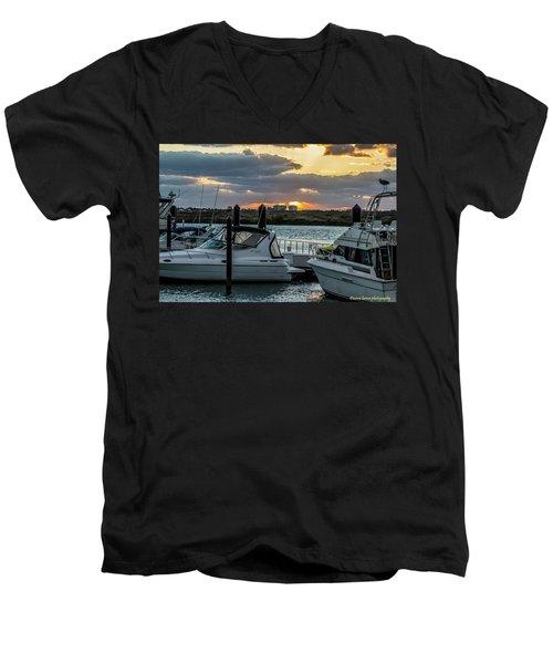 Fort Pierce Marina Men's V-Neck T-Shirt by Nance Larson