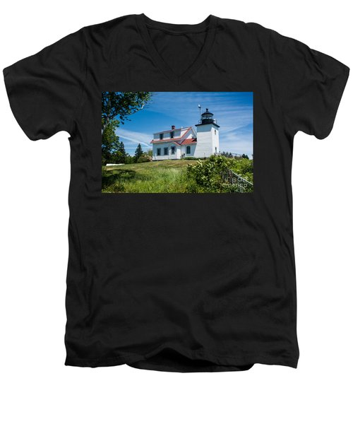 Fort Point Lighthouse  Stockton Springs Me 2  Men's V-Neck T-Shirt