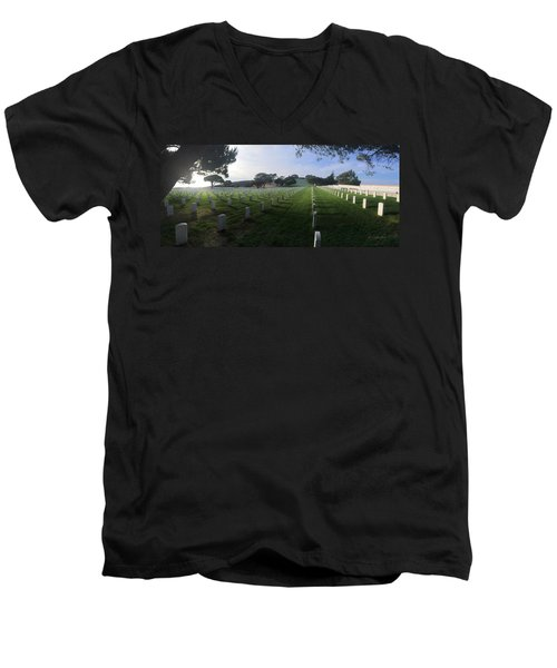 Men's V-Neck T-Shirt featuring the photograph Fort Rosecrans National Cemetery by Lynn Geoffroy