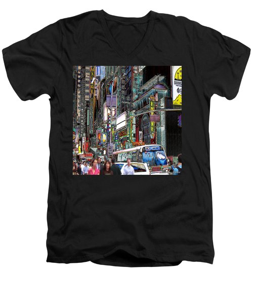 Forty Second And Eighth Ave N Y C Men's V-Neck T-Shirt by Iowan Stone-Flowers