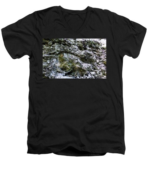 Men's V-Neck T-Shirt featuring the photograph Fossil In The Wall by Francesca Mackenney