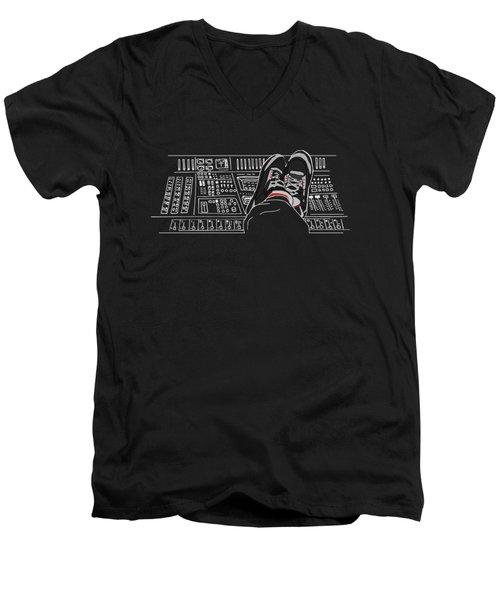Fotcp Black Color Men's V-Neck T-Shirt
