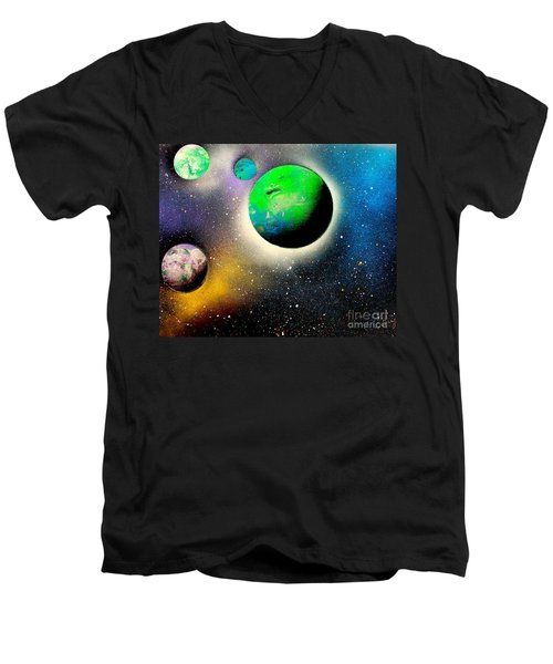 Four Planets 02 E Men's V-Neck T-Shirt by Greg Moores