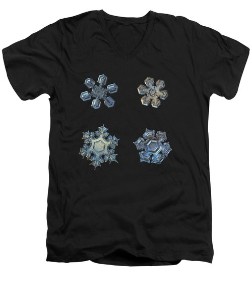 Four Snowflakes On Black 2 Men's V-Neck T-Shirt