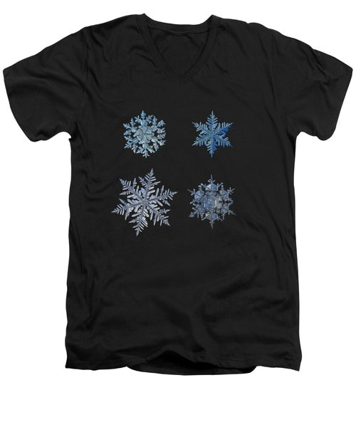 Four Snowflakes On Black Background Men's V-Neck T-Shirt by Alexey Kljatov