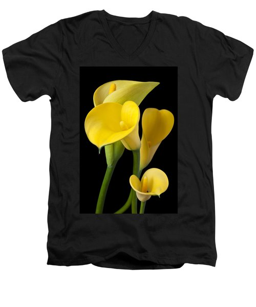 Four Yellow Calla Lilies Men's V-Neck T-Shirt by Garry Gay