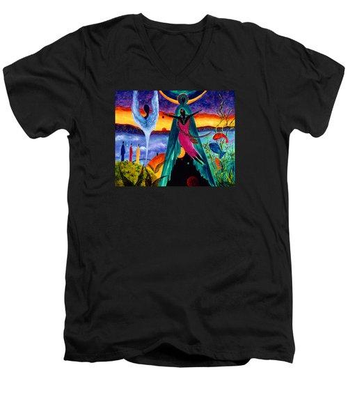 Men's V-Neck T-Shirt featuring the painting Flight by Marina Petro