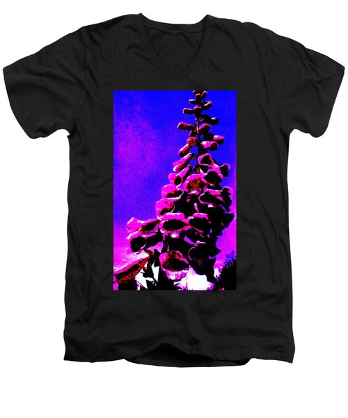 Men's V-Neck T-Shirt featuring the painting Foxglove by Renate Nadi Wesley