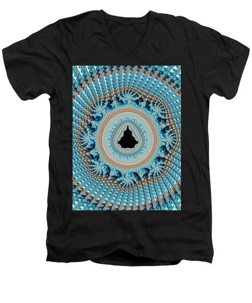 Fractal Art Crochet Style Blue And Gold Men's V-Neck T-Shirt