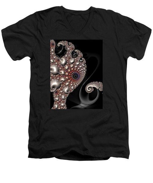 Men's V-Neck T-Shirt featuring the digital art Fractal Contact - Silver Copper Black by Matthias Hauser