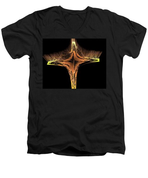 Men's V-Neck T-Shirt featuring the digital art Fractal Cross Golden And Yellow by Matthias Hauser